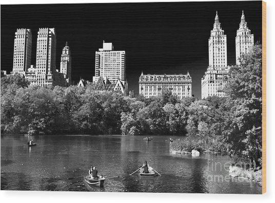 Rowing In Central Park Wood Print