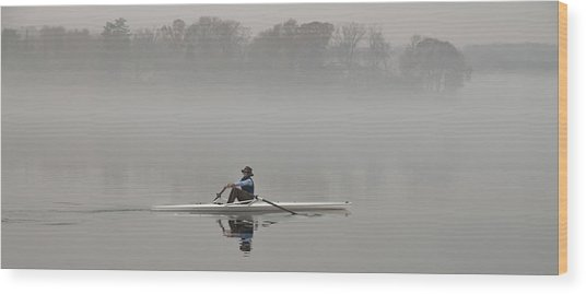 Rowing Into Morning Fog Wood Print