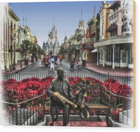 Roy And Minnie Mouse Walt Disney World Wood Print