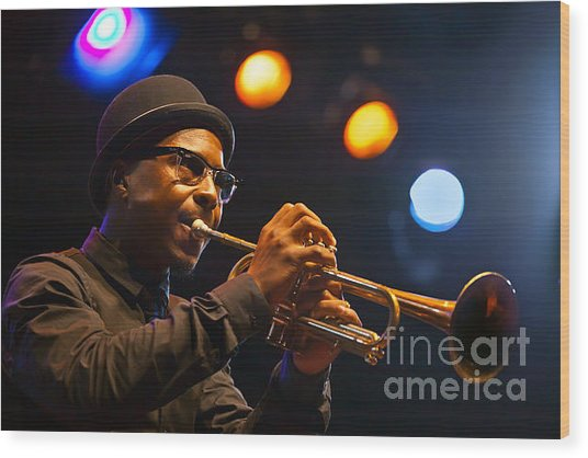 Roy Hargrove With Hat Wood Print