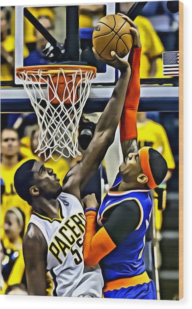 Roy Hibbert Vs Carmelo Anthony Wood Print