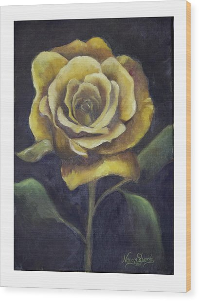 Royal Gold Bloom Wood Print by Nancy Edwards