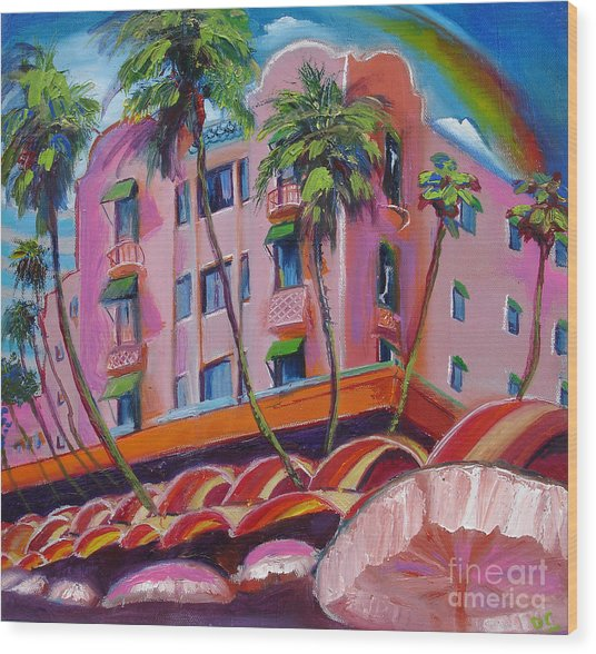 Royal Hawaiian Hotel Wood Print by Donna Chaasadah