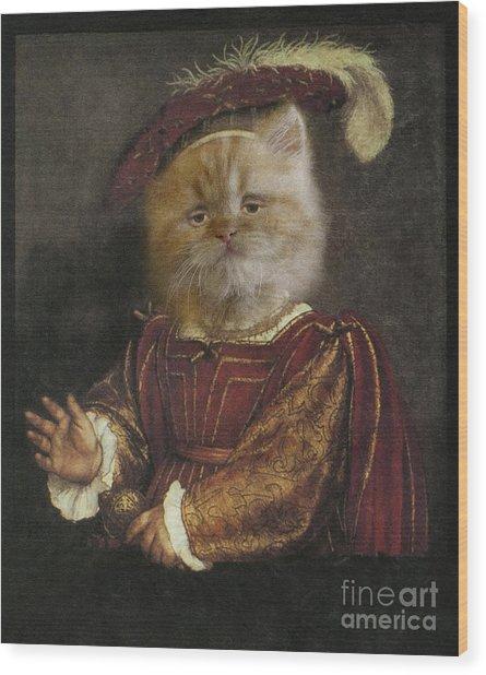 Royal Prince Kitty Human Body Animal Head Portrait Wood Print by Jolanta Meskauskiene