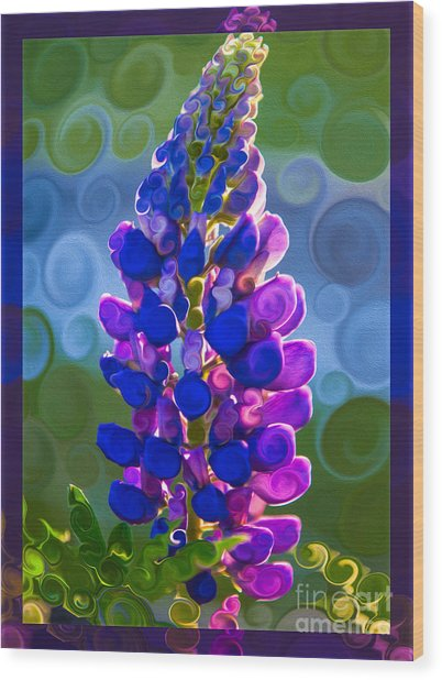 Royal Purple Lupine Flower Abstract Art Wood Print