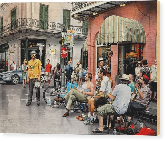 Royal Street Jazz Wood Print