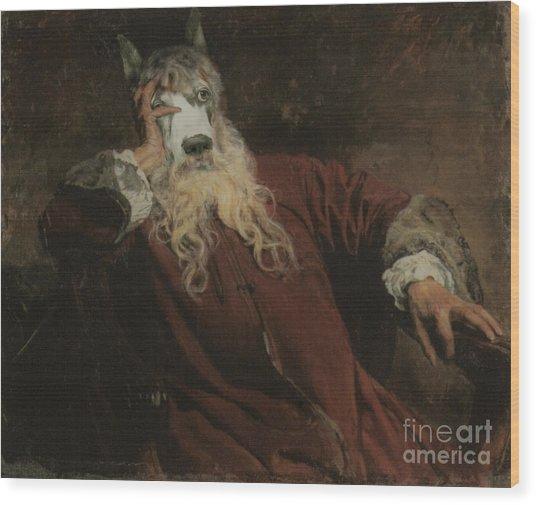 Royal The Lord Dog Human Body Animal Head Portrait Wood Print by Jolanta Meskauskiene