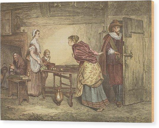 Royalists Seeking Refuge In The House Wood Print