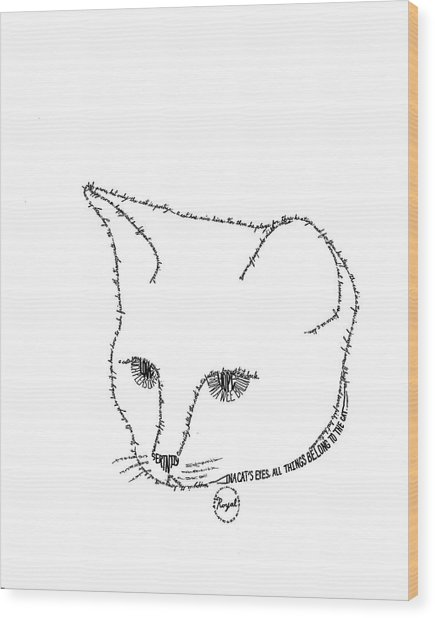 Royalty In A Word Is Cat Wood Print by Bethany Martin