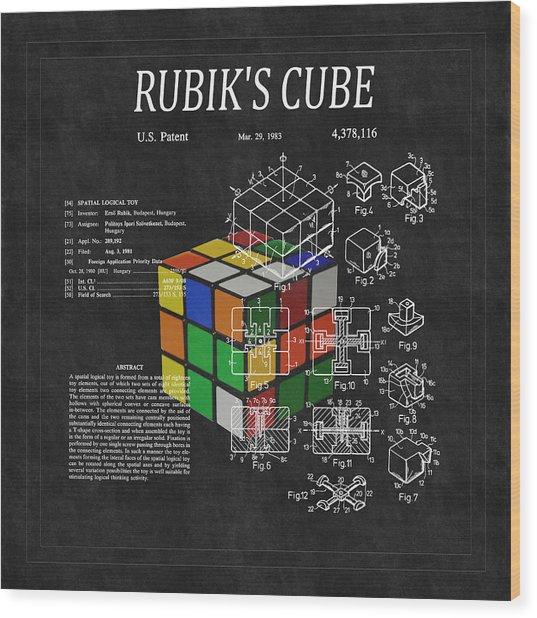 Rubik's Cube Patent 3 Wood Print
