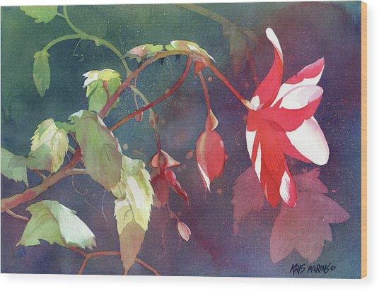 Ruby Begonia Wood Print