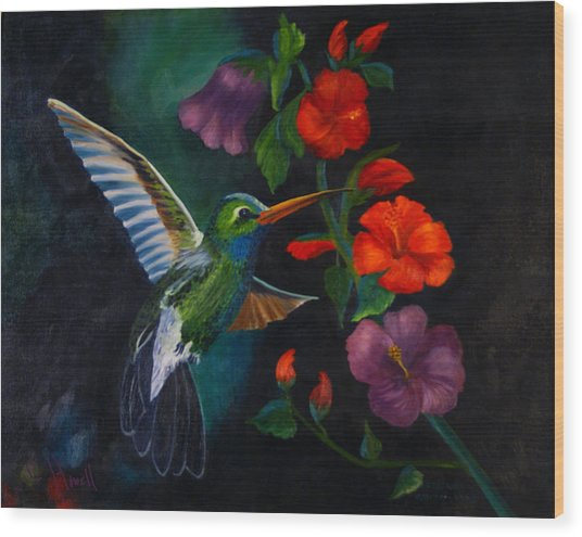 Rubythroated Humming Bird And Hibiscus Wood Print