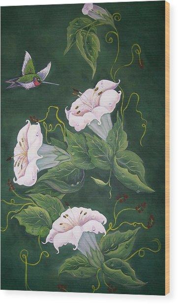 Hummingbird And Lilies Wood Print