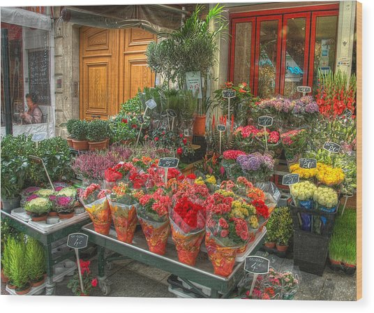 Rue Cler Flower Shop Wood Print
