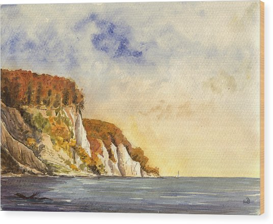 Rugen Cliffs Wood Print by Juan  Bosco