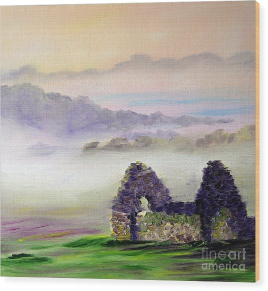 Ruin Above The Mist Wood Print