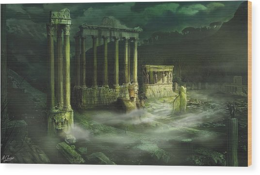 Ruined Temple Wood Print by Anthony Christou