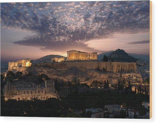 Ruins Of A Temple, Athens, Attica Wood Print