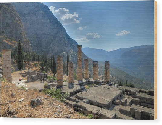 Ruins Of Apollos Temple And The Valley Of Phocis Wood Print