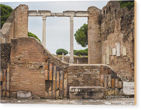 Ruins Of Ostia Antica Wood Print