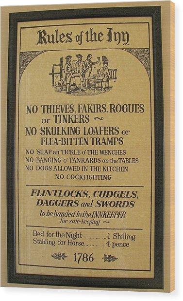 Rules Of The Inn Irish Pub Sign Wood Print