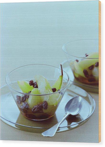 Rum Raisin Poached Pears Wood Print