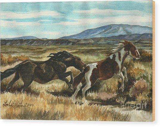 Run Little Horse Wood Print