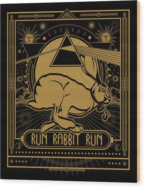 Run Rabbit Run Wood Print