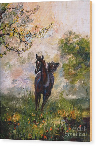 Running Free Horse Painting Wood Print