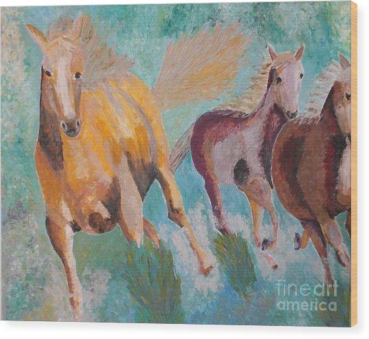 Running Horses  Wood Print