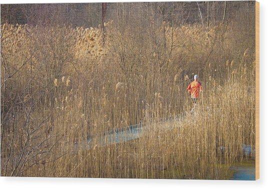 Running Man Wood Print by Richie Stewart