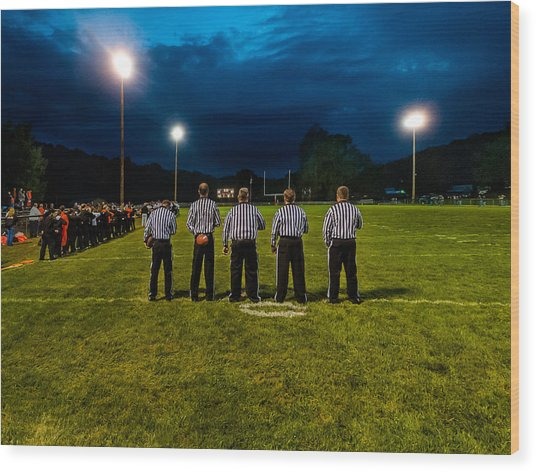 Rural Friday Night Lights Wood Print by Michael Weaver