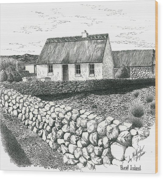 Rural Irish Cottage Wood Print By Jimmy McAlister