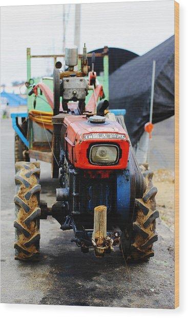Rural Korean Tractor Wood Print by Sally Bucey