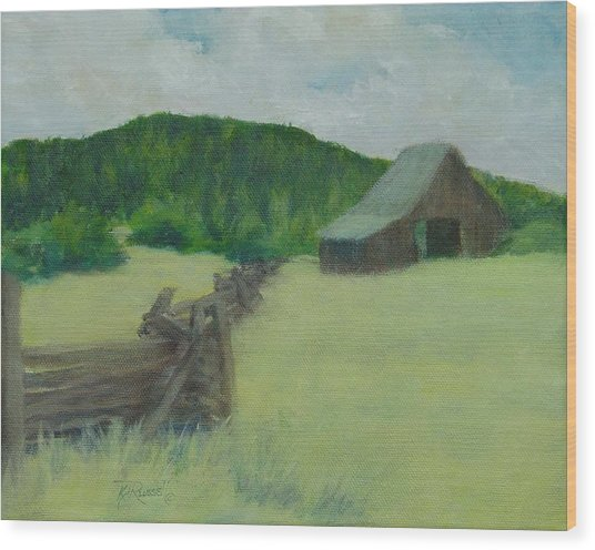 Rural Landscape Colorful Oil Painting Barn Fence Wood Print