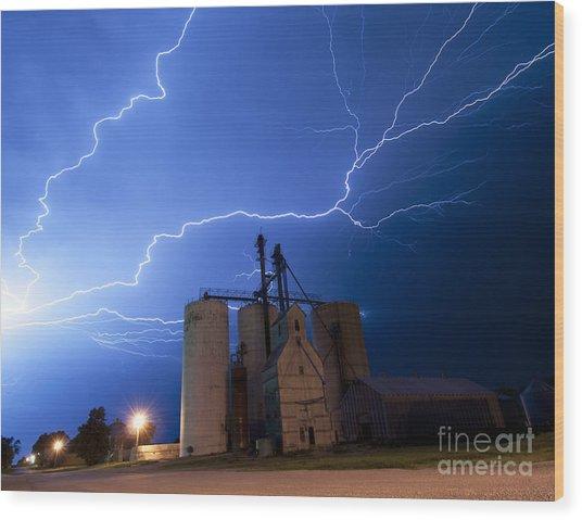 Rural Lightning Storm Wood Print