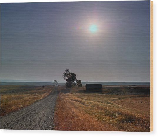 Rural Montana Sunrise Wood Print by Leland D Howard