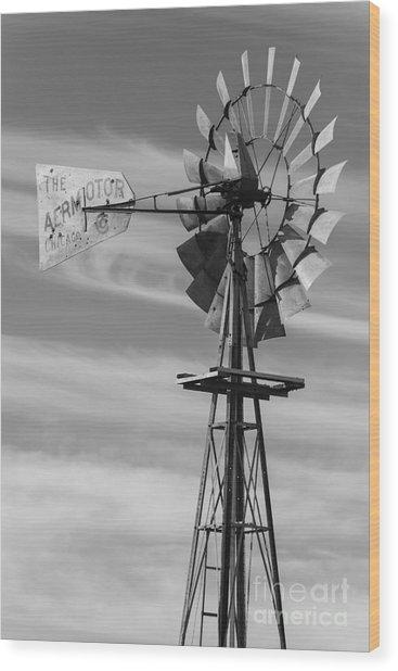Rural Nebraska Windmill Wood Print
