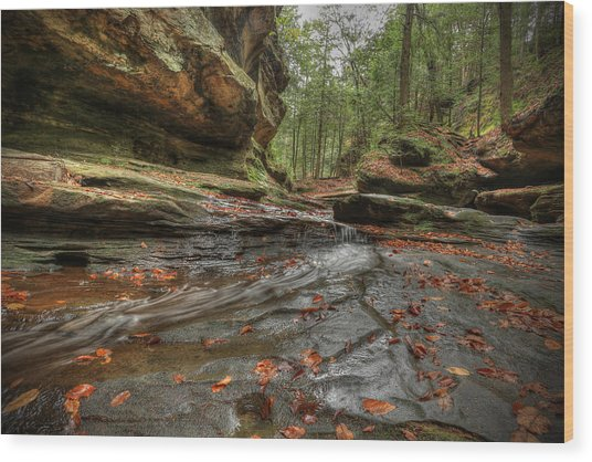 Rush To Old Man's Cave Wood Print