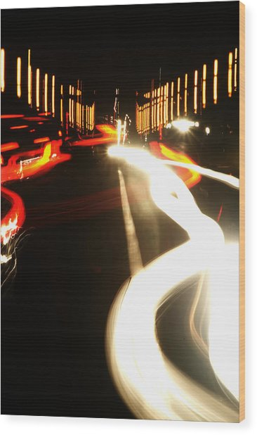 Rushing Traffic Wood Print