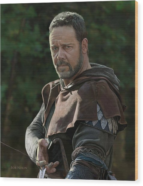 Wood Print featuring the digital art Russell Crowe As Robin Hood by Bob Nolin