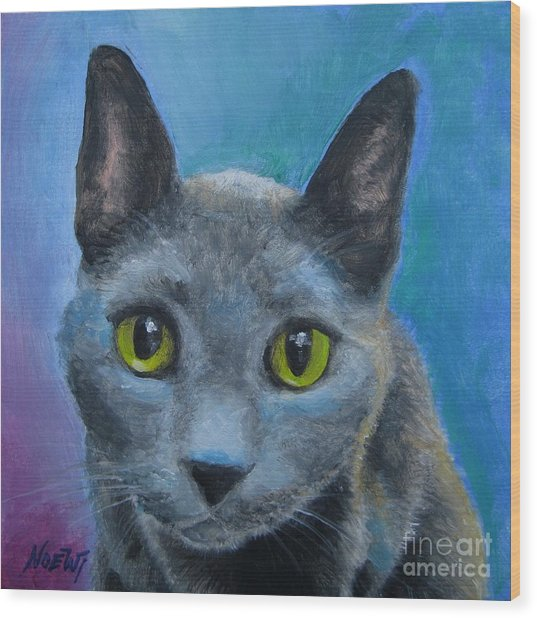 Russian Blue Wood Print
