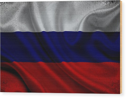 Russian Flag Waving On Canvas Wood Print