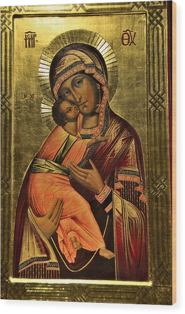 Russian Icon  Our Lady Of Vladimir Wood Print
