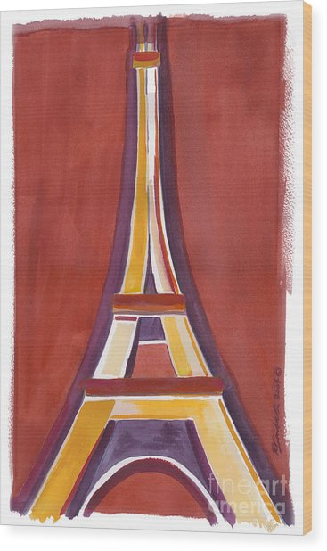 Rust Yellow Eiffel Tower Wood Print