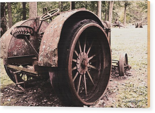 Rusted Big Wheels Wood Print