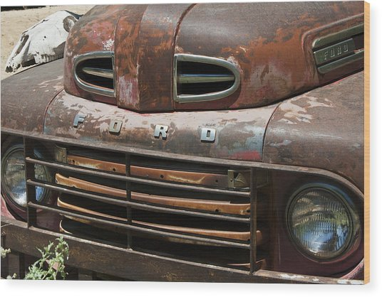 Rusted Ford In Hackberry Wood Print