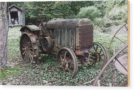 Rusted Mc Cormick-deering Tractor And Shed Wood Print