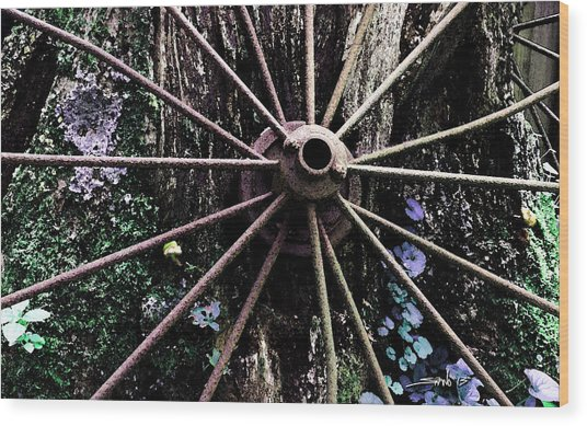 Rusted Spokes Wood Print