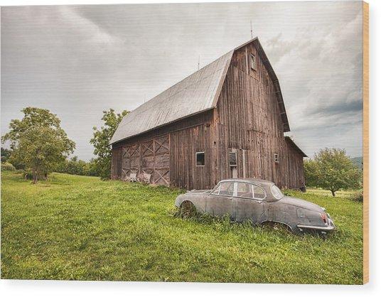 Rustic Art - Old Car And Barn Wood Print